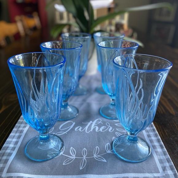 Vintage set of 6 Blue Drinking Goblets